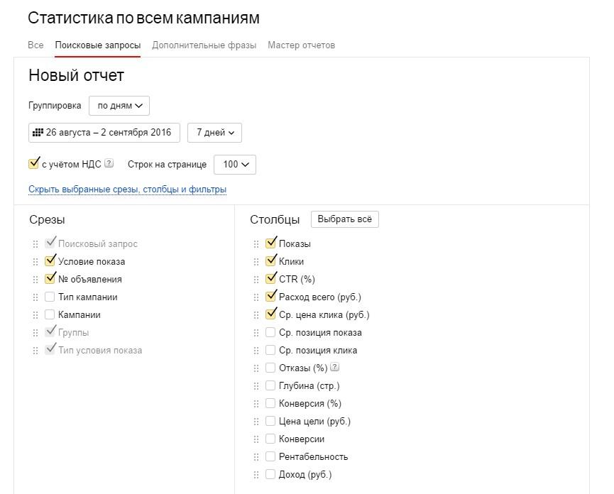 Отчет. Поисковые запросы яндекс директ